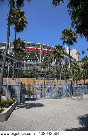 SAN DIEGO, CALIFORNIA - August 25, 2021: Petco Park in San Diego, California. Petco Park is home to the San Diego Padres baseball team.  Petco Park is an open-air ballpark in downtown San Diego.