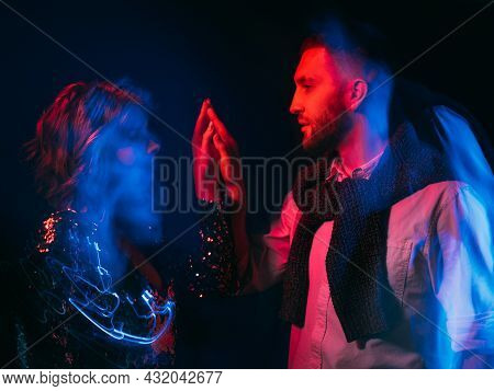 Romantic Date. Beloved Couple. Mysterious Affection. Enjoying Union. Sensual Man And Woman Looking E