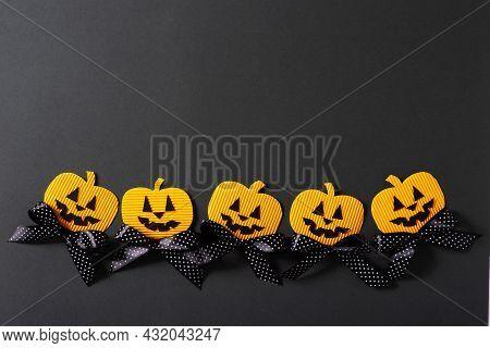 Kids Halloween Handmade Paper Pumpkins, Creative, Craft Concept On Black Background, Top View, Copy