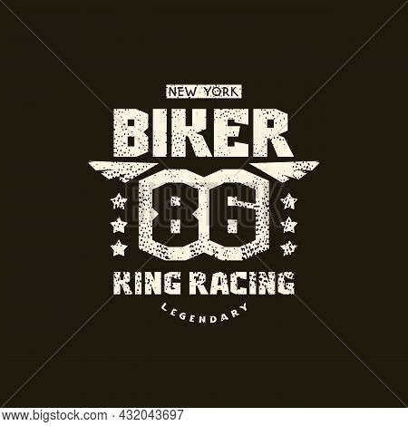 Sport Emblem Biker King Racing With Retro Texture. Graphic Design For T-shirt. White Print On Black