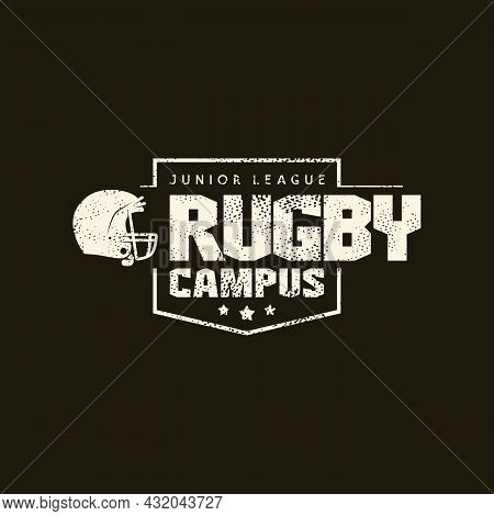 Sport Emblem Campus Rugby Team With Retro Texture. Graphic Design For T-shirt. White Print On Black