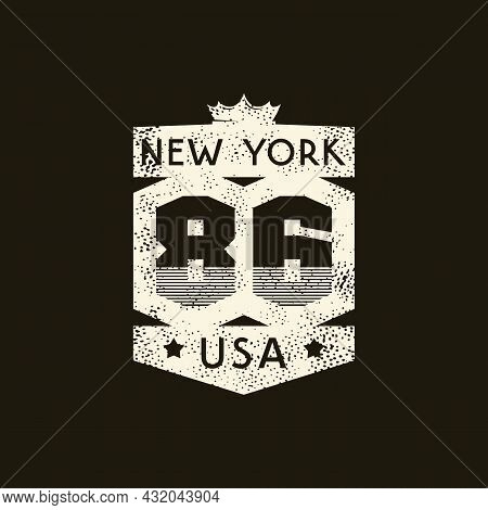 Sport Emblem With Retro Texture. Graphic Design For T-shirt. White Print On Black Background. Vector