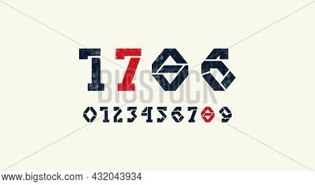 Stencil-plate Serif Numerals For Logo And Emblem Design. Typography Set With Vintage Texture. Vector