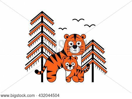 Amur Tiger Mother And Baby With Spruces And Birds.