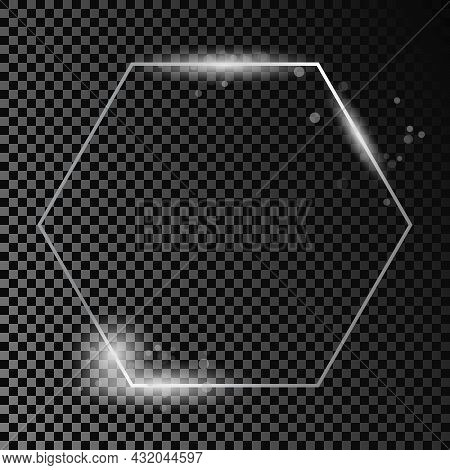 Silver Glowing Hexagon Frame With Sparkles Isolated On Dark Transparent Background. Shiny Frame With