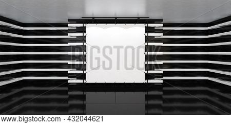 Blank White Poster Banner In The Center Of Empty Illuminated Hall With Led Lamps On Walls And Glossy