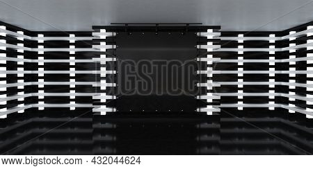 Blank Black Poster Banner In The Center Of Empty Illuminated Hall With Led Lamps On Walls And Glossy