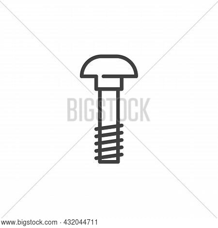 Carriage Bolt Line Icon. Linear Style Sign For Mobile Concept And Web Design. Carriage Screw Outline