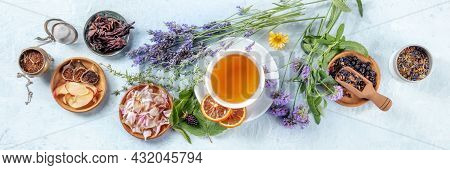 Organic Tea Panorama With Herbs, Flowers And Fruit, Shot From The Top. Healthy Hot Drink Panoramic B