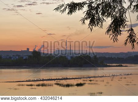 Pink Dawn Over The Ob River. Dawn Over The River, Heat Station With High Pipes, Houses, Trees On The