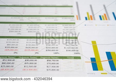 Spreadsheet Table Paper With Graph. Finance Development, Banking Account, Statistics Investment Anal