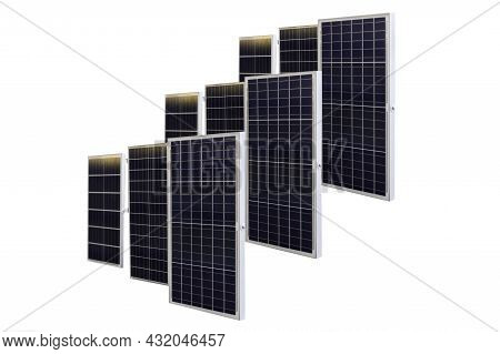Solar Panels Isolated On White Background In Clipping Path.