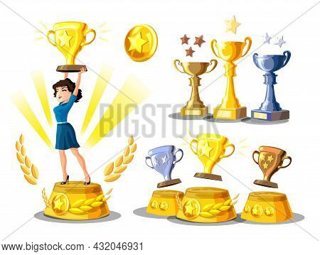 Set With Businesswoman Is Standing On A Winners Pedestal With A Golden Cup And Winners Podium With C