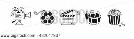 Hand Drawn Cinema Set With Movie Camera, Clapper Board, Cinema Reel And Tape, Popcorn In Striped Box