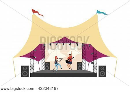 Music Festival Flat Concept Vector Illustration. Music Band Performing On Stage Isolated 2d Cartoon