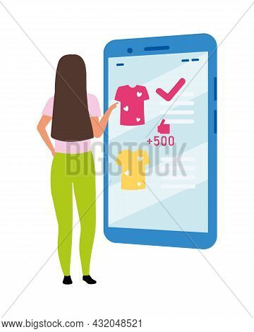Online Clothes Shopping Flat Concept Vector Illustration. Female Customer Purchasing T Shirt Online