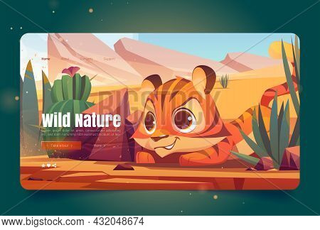 Wild Nature Banner With Tiger Sneaks In Desert. Vector Landing Page With Cartoon Illustration Of San
