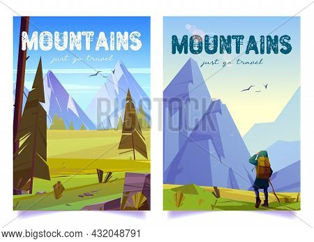 Woman Hiker With Stick And Backpack Travels On Mountain Valley. Vector Posters With Cartoon Illustra