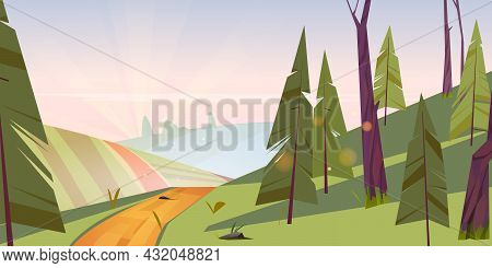 Summer Landscape With Green Fields, Hills And Coniferous Forest At Morning. Vector Cartoon Illustrat