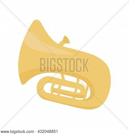 Tuba Musical Instrument Semi Flat Color Vector Object. Full Sized Item On White. Woodwind Instrument