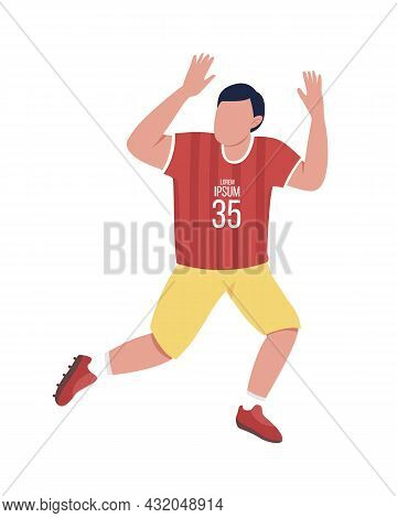 Male Rugby Player In Uniform Semi Flat Color Vector Character. Full Body Person On White. Physical A