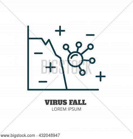 Virus And Incidence Curve Line Icon Isolated Vector. Editable Stroke Symbol. Vaccines Against Virus,