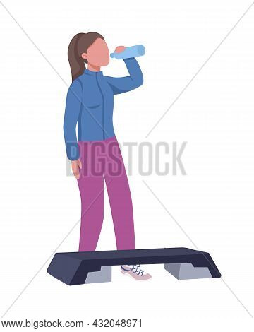 Girl Drinking Water During Workout Semi Flat Color Vector Character. Full Body Person On White. Home