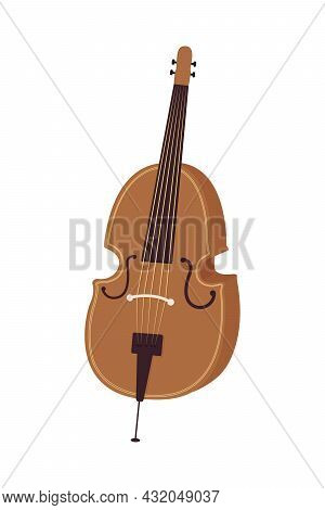 Violoncello Musical Instrument Semi Flat Color Vector Object. Full Sized Item On White. Symphony Orc