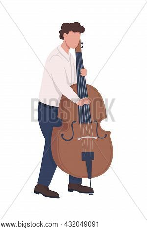 Musician Playing Cello With Fingers Semi Flat Color Vector Character. Full Body Person On White. Usi