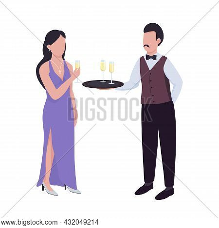 Waiter Serving Sparkling Wine To Lady Semi Flat Color Vector Characters. Full Body People On White.