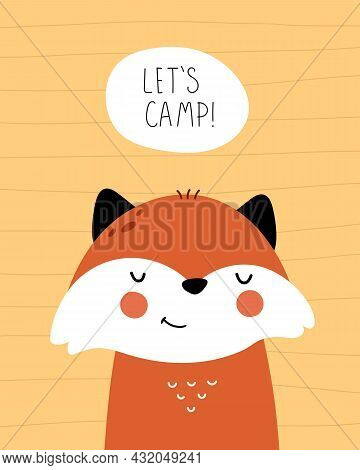 Lets Camp. Cartoon Fox, Hand Drawing Lettering, Decor Elements. Flat Style, Colorful Vector For Kids