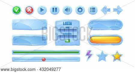 Set Progress Bars, Game Buttons Of Ice Texture. Cartoon Frozen Menu Interface, Ui Or Gui Elements. U