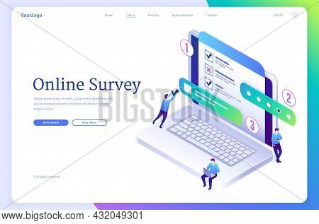 Online Survey Isometric Landing Page, Tiny People Fill Online Form On Huge Laptop With Test, Quiz Or