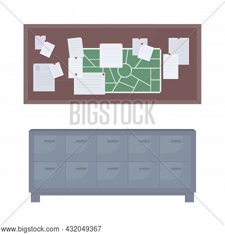 Filing Cabinet And Cork Board Semi Flat Color Vector Objects. Full Sized Items On White. Bulletin Bo