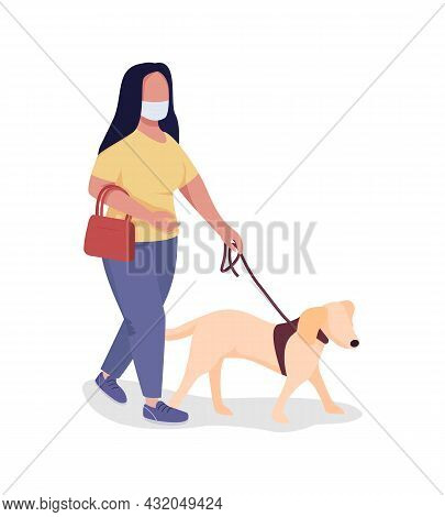 Walking Dog During Pandemic Semi Flat Color Vector Character. Full Body Person On White. Pet Owner W