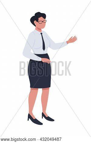Female Civil Servant Semi Flat Color Vector Character. Posing Figure. Full Body Person On White. Off