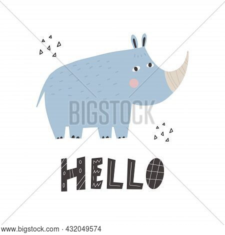 Cute African Animal Rhinoceros In Scandinavian Style With Lettering - Hello. Vector Hand-drawn Color