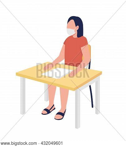 Schoolgirl In Mask At Lesson Semi Flat Color Vector Character. Girl Figure. Full Body Person On Whit