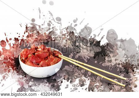 White Ceramic Bowl With Raw Meat And Bamboo Sticks. Pieces Of Marinated Pork With Salt, Pepper And G