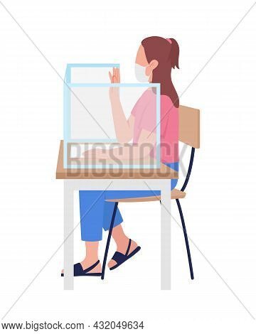 Girl In Mask At School Lesson Semi Flat Color Vector Character. Schoolgirl Figure. Full Body Person