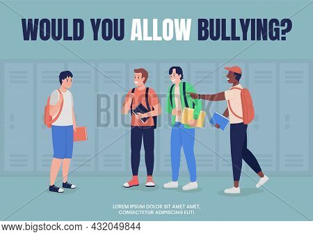 Anti Bullying Campaign For School Poster Flat Vector Template. Brochure, Booklet One Page Concept De
