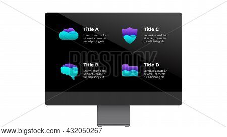 Monitor Mock Up. Infographic Slide Template. 4 Options, Steps, Processes. Electronic Device Presenta