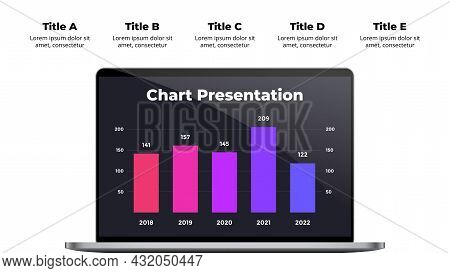 Computer Mock Up. Laptop Infographic Slide Template. Business 5 Steps Chart. Electronic Device Prese