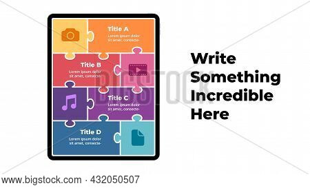 Tablet Mock Up. Puzzle Infographic Slide Template. Electronic Device Presentation. User Interface An