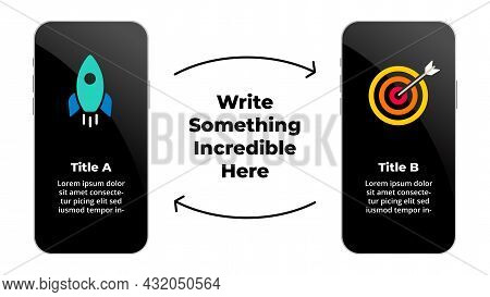 Smartphone Mock Up. Infographic Slide Template. 2 Electronic Devices Presentation. From Startup Goal