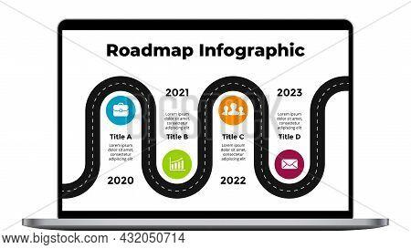 Computer Mock Up. Roadmap Notebook Screen. Business Concept. Laptop Infographic Slide Template. Elec