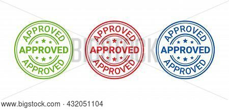 Approved Stamp. Vector. Seal Imprint Approve. Approval Permit Badge, Label. Accepted Sticker. Confir
