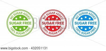 Sugar Free Stamp Icon. No Sugar Added Round Label. Diabetic Imprint Badge. Green, Red And Blue Seal