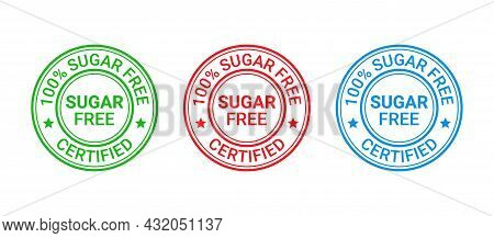 Sugar Free Label Icon. No Sugar Added Stamp. Diabetic Round Seal Badge. Green, Red And Blue Imprint