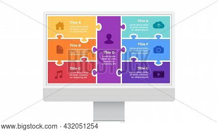 Monitor Mock Up. Infographic Slide Template. Electronic Device Presentation. User Interface And Expe